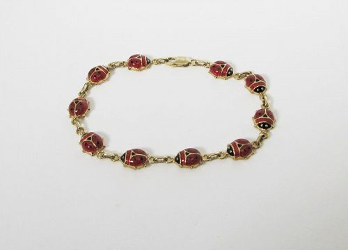 Gold and Enameled Ladybug Bracelet