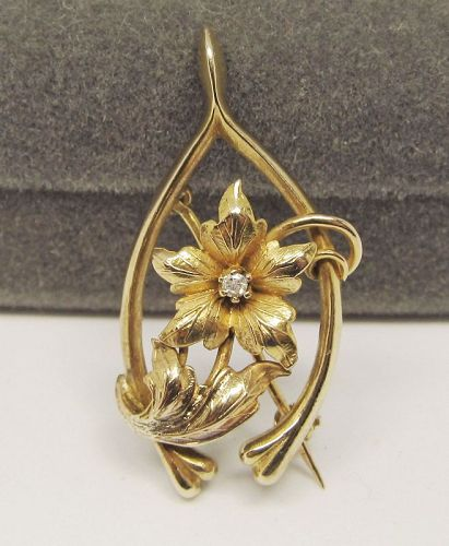 Art Nouveau 14Kt Gold Broach