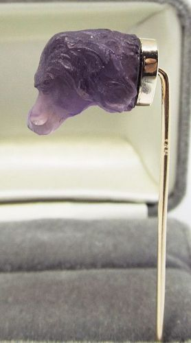 Carved Amethyst Stickpin