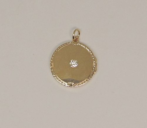 Victorian 14Kt Gold Locket with a Diamond