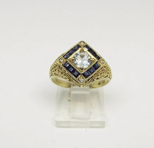 Aquamarine Sapphire and Diamond Ring