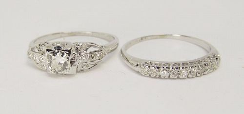 Antique Diamond Engagement Ring and Band Set