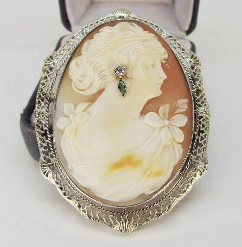 Cameo Broach in 14Kt White Gold Filigree Frame