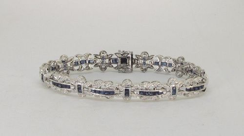 Diamond and Sapphire Bracelet 18Kt White Gold