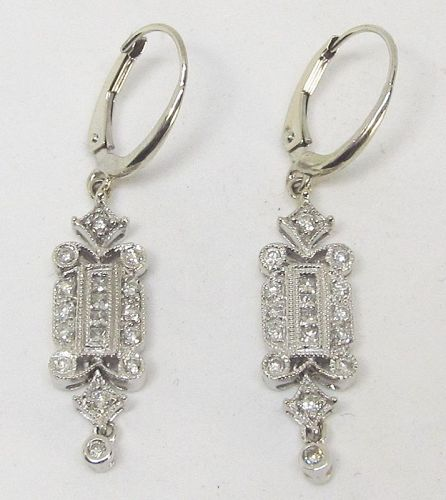 Diamond Earrings Art Deco Style
