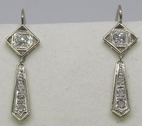 Diamond Hanging Earrings 14Kt Gold