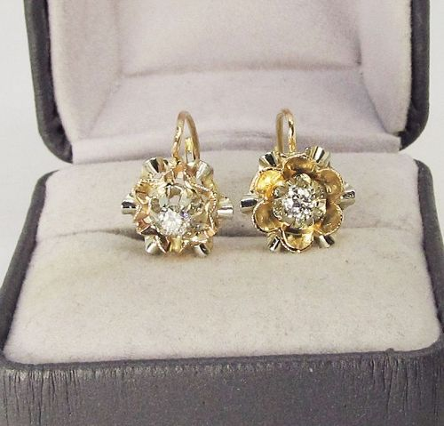 Diamond Flower Earrings 18Kt Gold