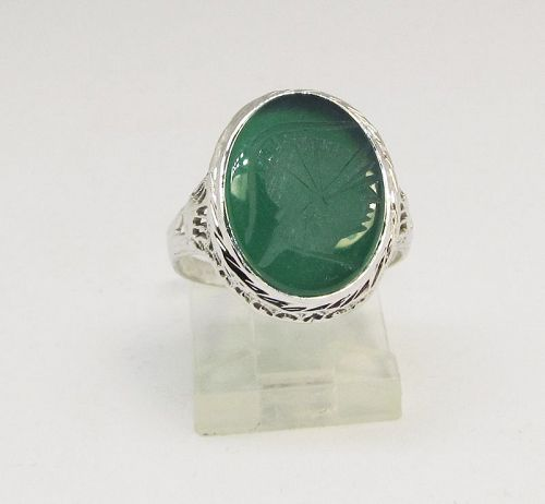 Filigree 14Kt White Gold Green Onyx Intaglio Ring