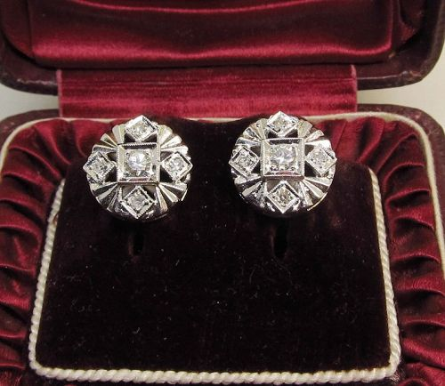 Diamond Earrings Set in 14Kt white Gold