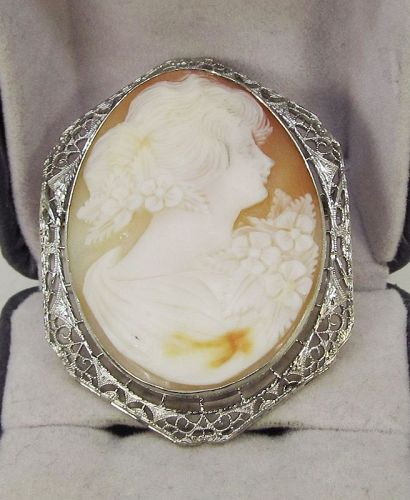 Filigree 14Kt Gold Cameo Broach/Pendant
