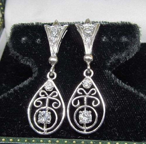 Diamond Openwork Hanging Earrings 14Kt Gold