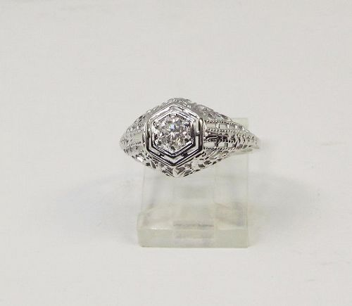 Diamond Filigree 18Kt White Gold Ring
