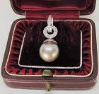 South Sea Pearl and Diamond Pendant 14Kt White Gold