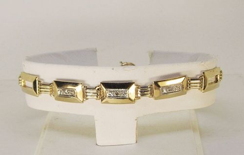 Deco Diamond Bracelet 14Kt Gold
