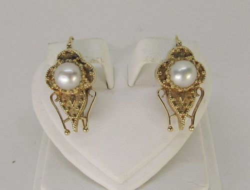 Etruscan Pearl earrings 14Kt Gold
