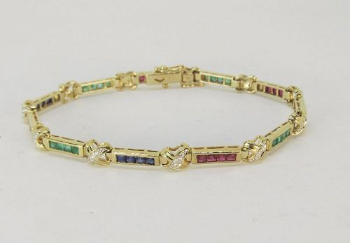 Sapphire, Ruby, Emerald and Diamond Bracelet