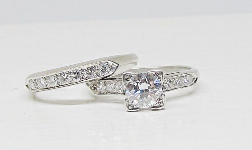 Diamond Platinum Engagement Ring and Band Set