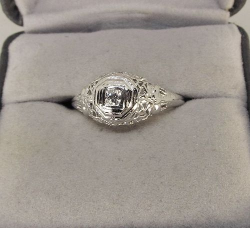 Diamond Ring 14Kt White Gold Filigree