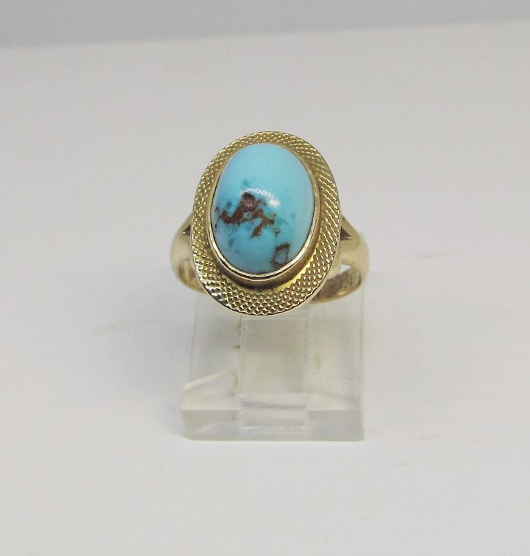 Turquoise Ring Set in 14Kt Gold