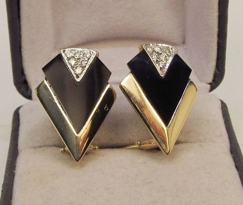 Onyx Diamond and 14Kt Gold Deco Style Earrings