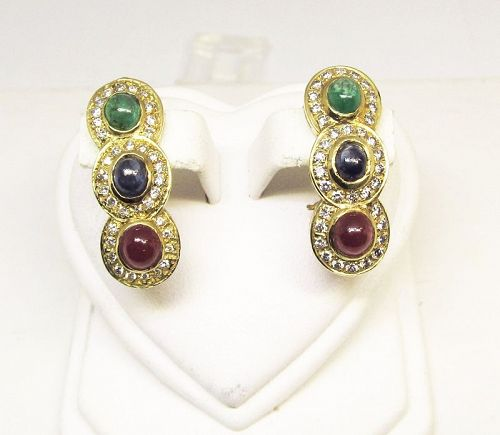 Ruby Sapphire Emerald and Diamond Earrings 14Kt Gold