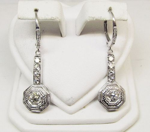 Diamond Hanging Earrings 14Kt White Gold