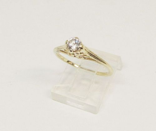 Diamond Solitaire Ring 14Kt Yellow Gold Filigree