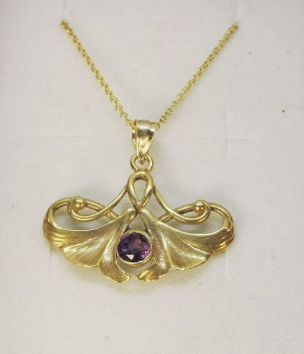 Art-Nouveau Pendant with Amethyst 14Kt Gold