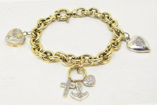 Charm Bracelet 14Kt Gold Heart Themed