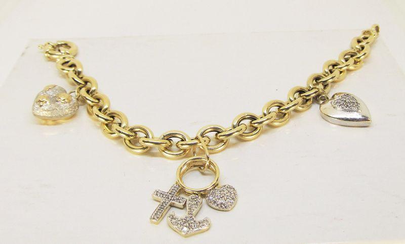 Charm Bracelet 14Kt Gold Heart Themed