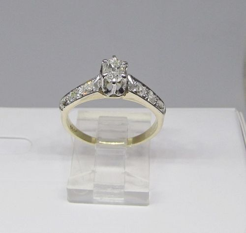 Diamond Engagement Ring Old Mine Diamonds 14Kt Gold