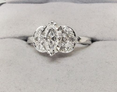 Marquise Diamond Engagement Ring Platinum
