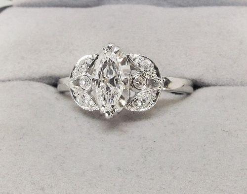 Marquise Diamond Engagement Ring Platinum