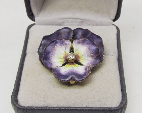 Art Nouveau Enameled Pansy Pin / Pendant 14Kt Gold