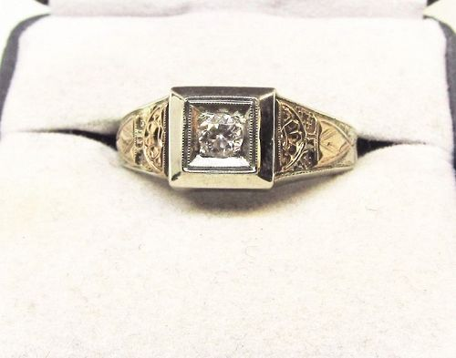 Diamond Men�s Ring 14Kt Two Tone