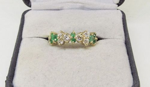 Emerald and Diamond Ring 14Kt Gold