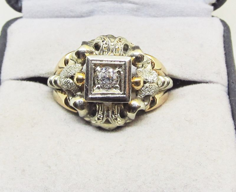 Diamond Ring Baroque Style 18Kt Gold