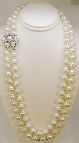 Double Strand of Japanese Cultures Pearls with Diamond Clasp