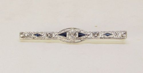 Filigree Bar pin with Diamonds and Sapphires 14Kt Gold