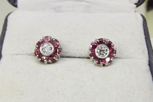 Diamond and Ruby Cluster Earrings 14Kt Gold