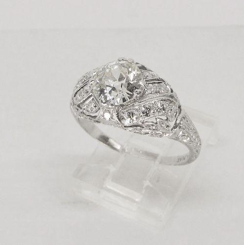Engagement Ring Antique Diamond Platinum