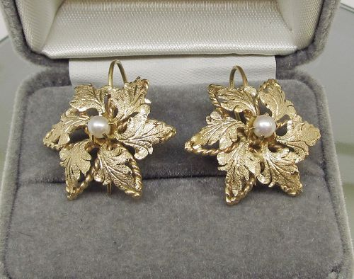 Flower Earrings 14Kt Gold and Pearls