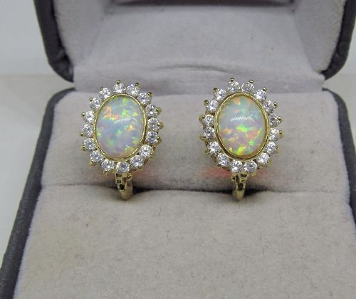 Opal and Sapphire Earrings 18Kt Gold