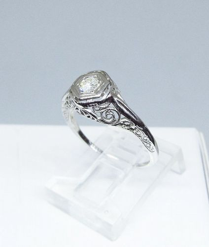 Estate Diamond Ring in 18Kt White Gold Filigree Setting