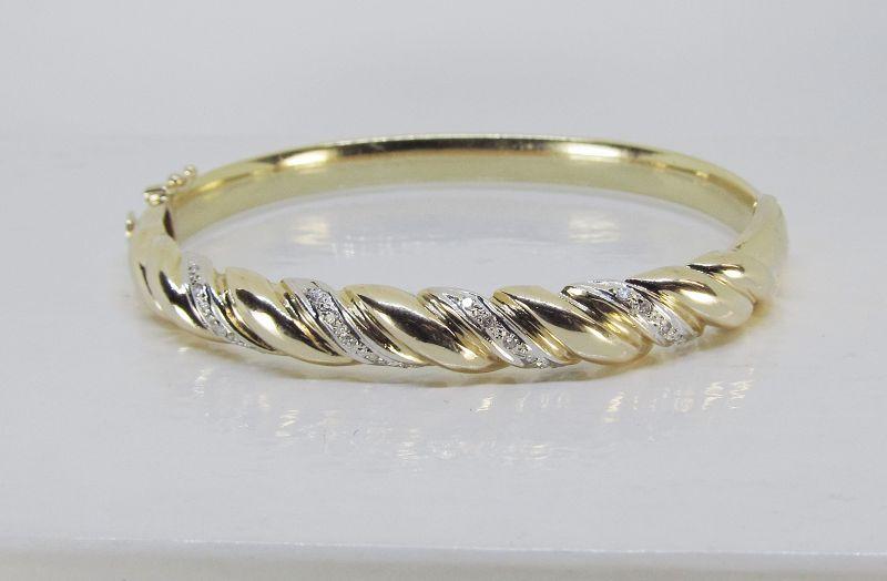 Estate Bangle Bracelet 14Kt Gold with Diamonds