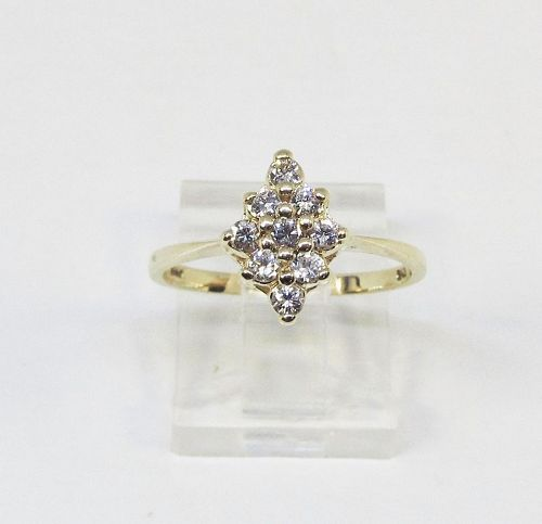 Diamond Cluster Ring 1960-s 14Kt Gold