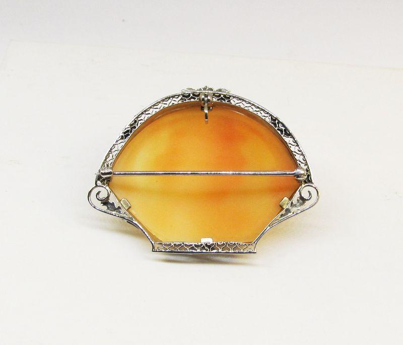 Antique Filigree Shell Cameo Broach/Pendant 14Kt Gold