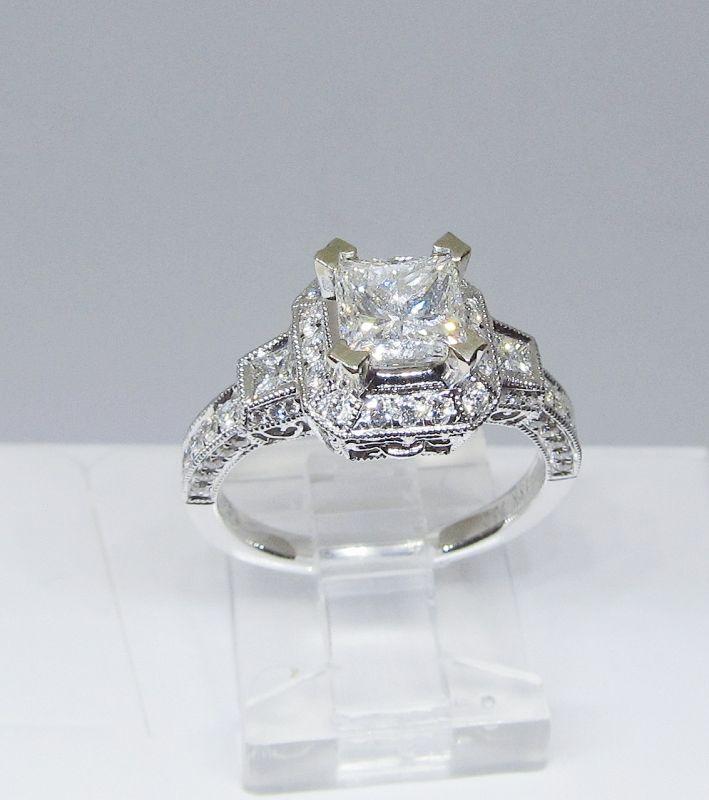 Diamond Engagement Ring, Square Cut Diamond, 18Kt Gold