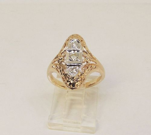 Filigree Dinner Ring with Diamonds, 14Kt Yellow Gold
