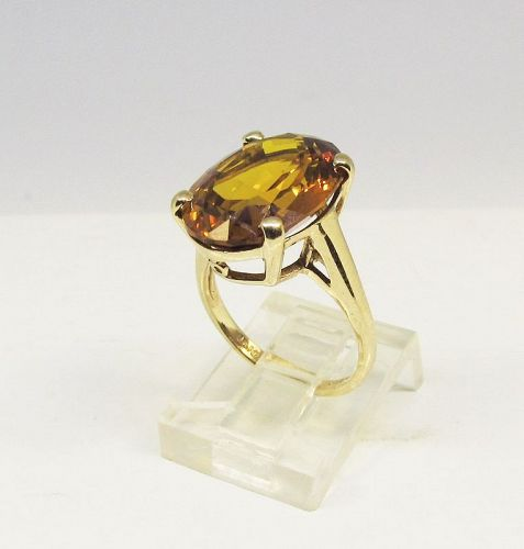 Madeira Topaz Ring 1960-s Period 14Kt Gold